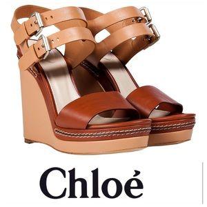 💕SALE💕 Chloe Nude Chestnut Wedge Sandals